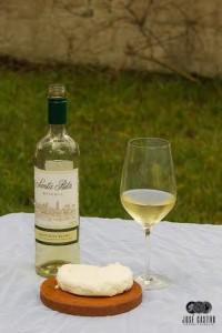 Vino Santa Rita Sauvignon Blanc y queso crema
