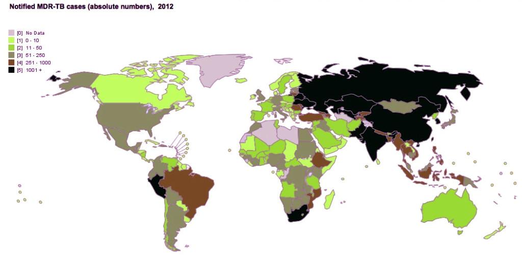 El Perú está entre los países con mayor número de casos de TB-MR en el mundo. Somos el primero en América. Datos de la OMS al 2012.