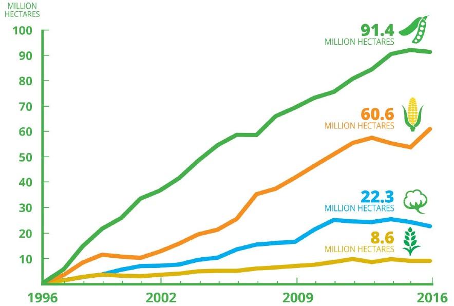 Principales cultivos transgénicos en el 2016. Fuente: ISAAA.