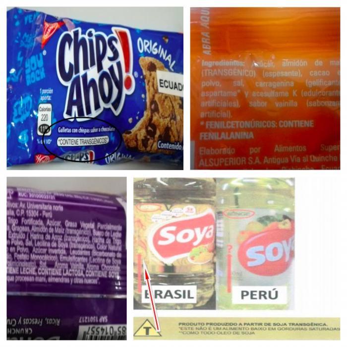 Productos etiquetados como transgénicos en Ecuador, Brasil y Bolivia.