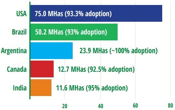 Área sembrada con transgénicos y nivel de adopción de la tecnología en los cinco primeros países. Fuente: ISAAA.