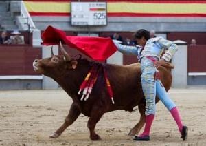 FOTO: PÁG WEB PLAZA DE TOROS DE LAS VENTAS PASE DE PECHO. Conforme fue avanzando la faena, el novillo se fue complicando.