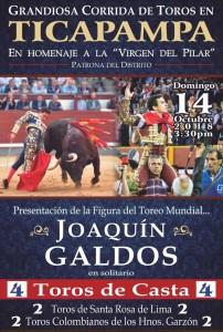 FOTO: COMISIÓN DE FIESTAS DE TICAPAMPA Galdós lidiará, en solitario, cuatro toros en Ticapampa, Huaraz.