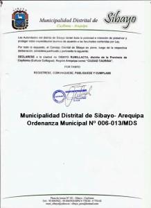 Ordenanza Sibayo Arequipa