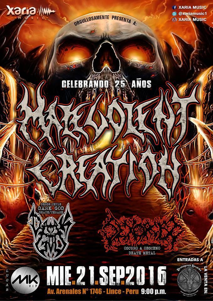 Uno de los grandes nombres del death metal se acerca al país, de nuevo. Malevolent Creation se presentará con todo su poder al lado de los chilenos Dark God y los peruanos Sexorcism. Repasemos un poco la historia de la banda.