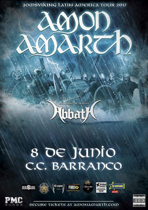 Este 8 de junio tendremos en Lima la presentación de dos grandes nombres de la escena actual del metal mundial, Amon Amarth y Abbath, propuestas que han conseguido miles de seguidores en todo el mundo y que tendremos la oportunidad de ver.