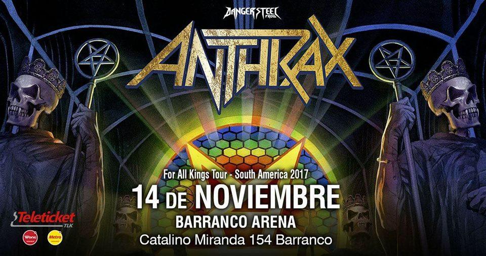 Una de las bandas emblemáticas de la historia del metal, pilar del thrash metal estadounidense de los 80 (y bestia negra para los truistas metálicos) nos vuelve a visitar: Anthrax. Actualización 04/11/2017 El local del evento ha sido dezplazado al Barranco Arena en Catalino Mirando 154, Barranco, mismo local del evento de Amon Amarth/Abbath entre otros.