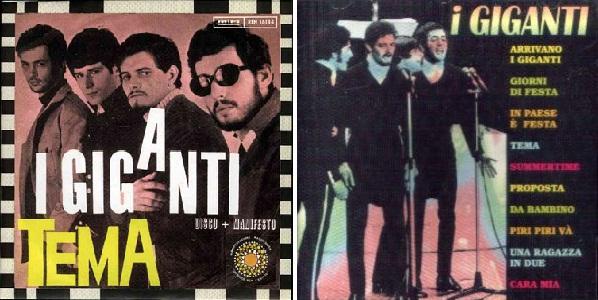 """Disco sencillo de la canción """"Tema"""" (a la izq.) y álbum de I Giganti (a la der.)."""
