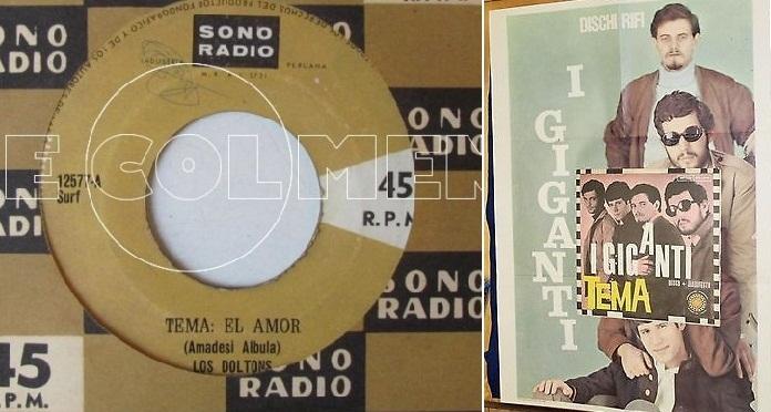 "A la izq.: Disco sencillo de Los Doltons con la pareja ""Amadesi Albula"" como compositores. A la der.: Póster de I Giganti de la época."