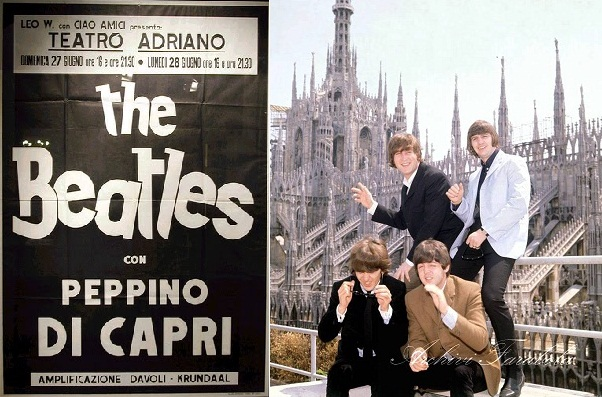 Izq.: Afiche del concierto de The Beatles con Peppino di Capri. Der.: The Beatles frente al Duomo de Milán en 1965. (Archivos Farabola)