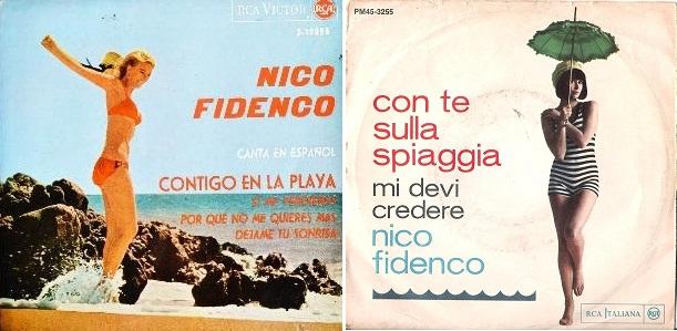 "Izq.: Disco de Nico Fidenco en español. Der.: Disco original de ""Con te sulla spiaggia"" (1964)."