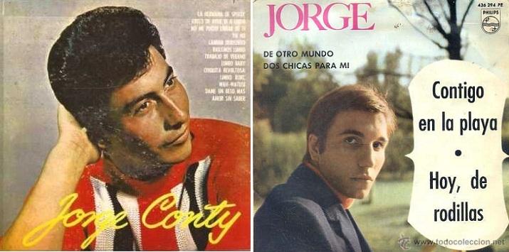 """Izq.: Disco del peruano Jorge Conty. Der.: Versión de """"Contigo en la playa"""" del español Jorge con Los Sonor (1964)."""
