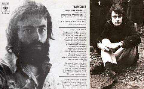 El español Luis Gómez Escolar. A la izq.: Disco que sacó con el seudónimo de Simone (1975).
