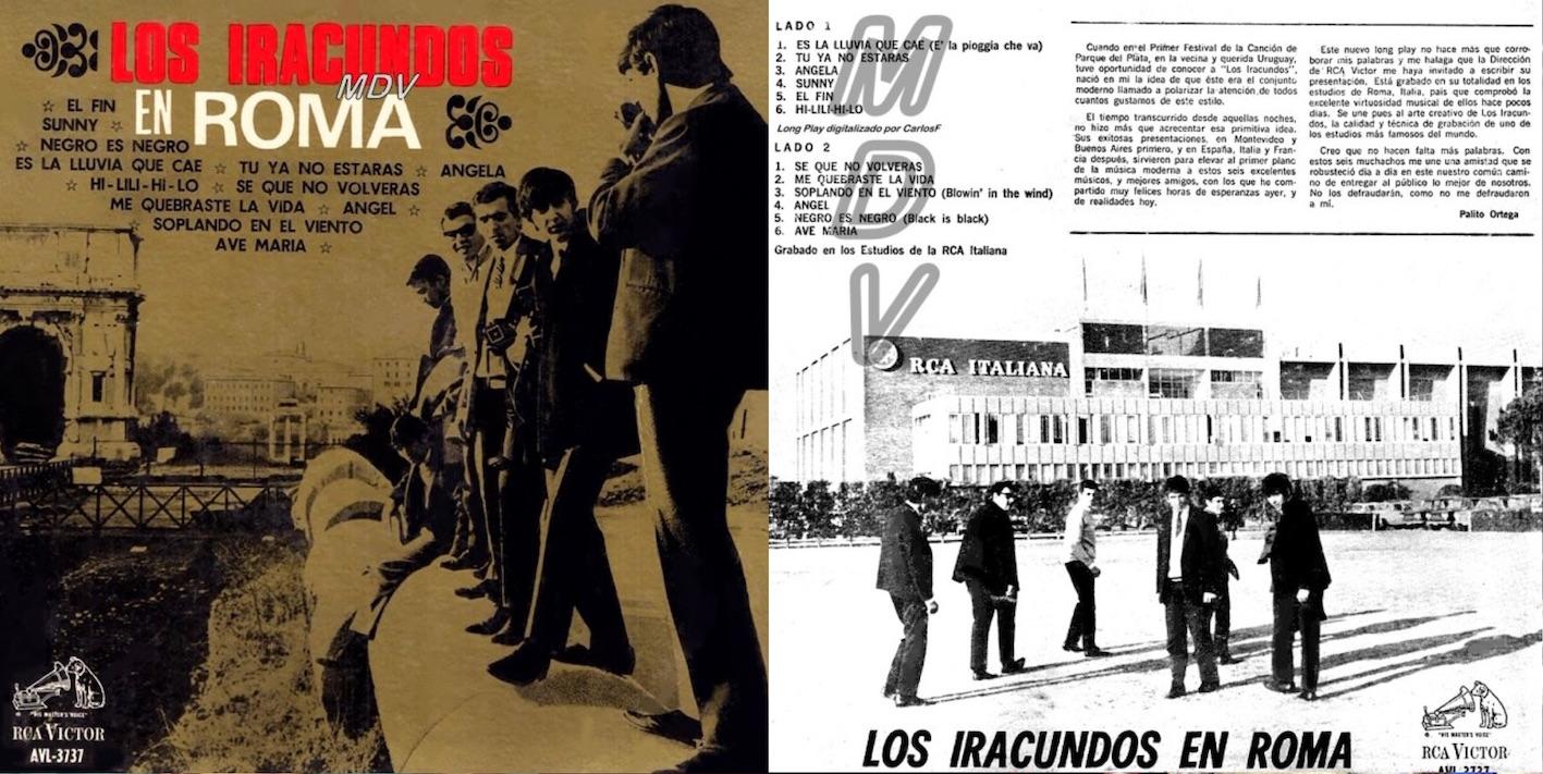 """""""Los Iracundos en Roma"""", álbum de 1967 que incluyó """"Es la lluvia que cae""""."""