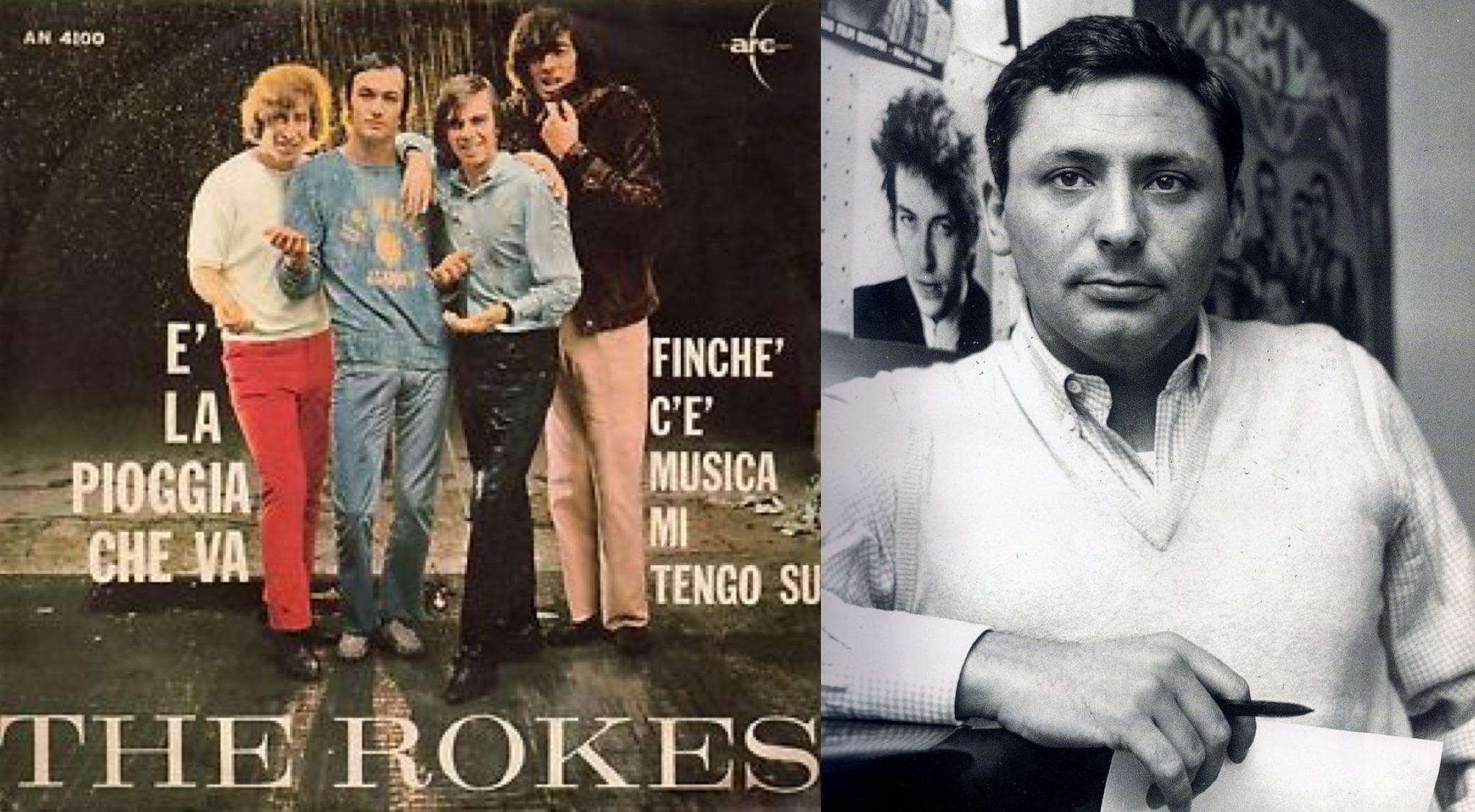 """Izq.: Disco sencillo de """"È la pioggia che va"""" (1966). Der.: El reconocido letrista italiano """"Mogol""""."""