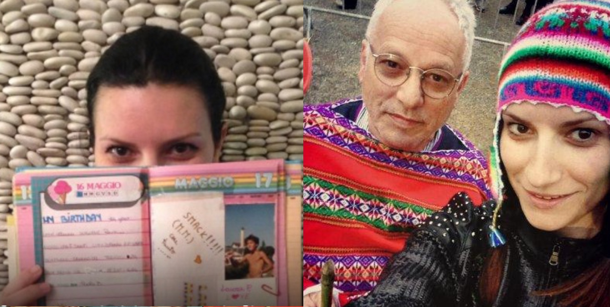 Izq.: Pausini muestra su diario con la foto de Marco. Der.: Con su padre en Perú.