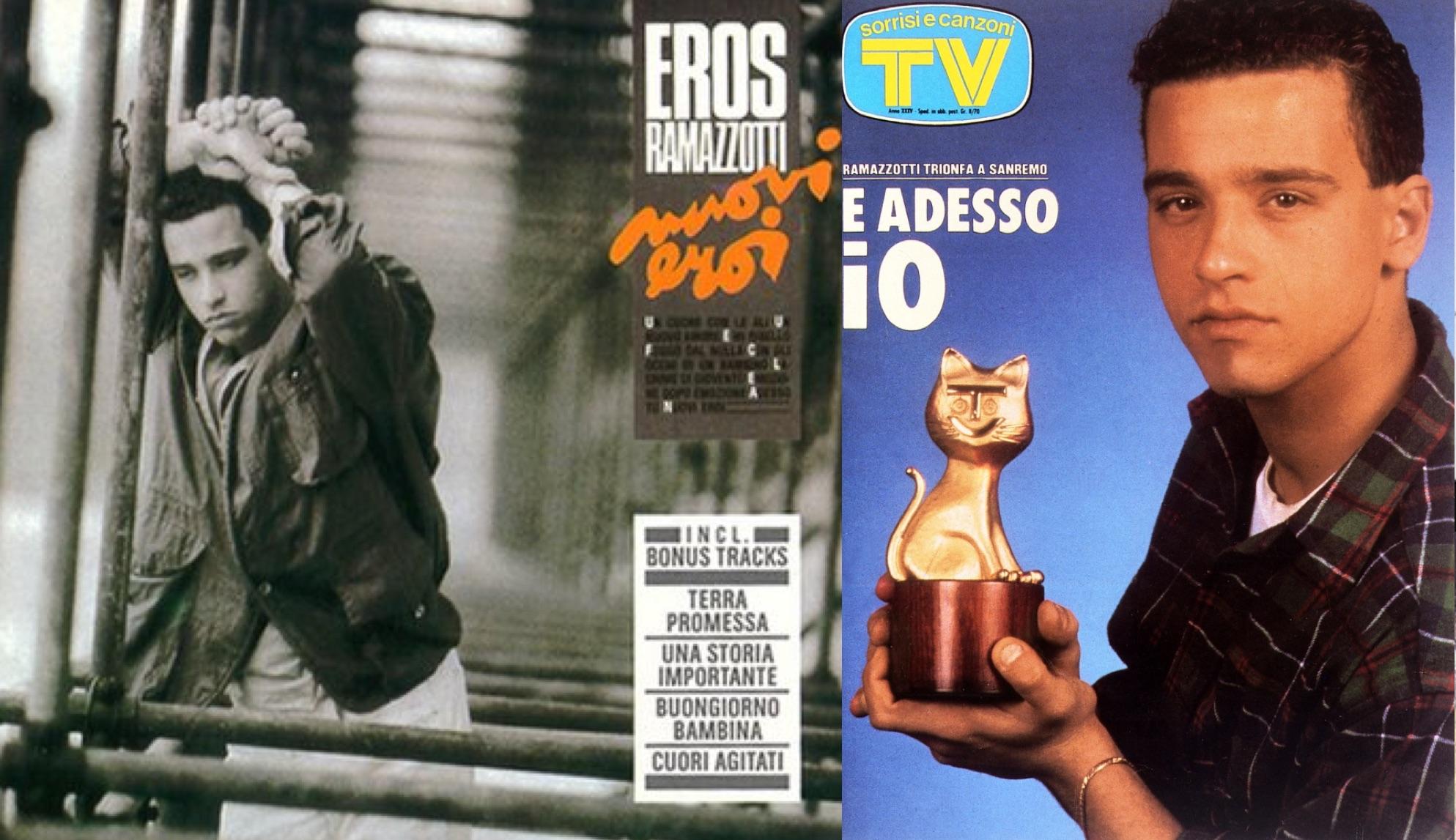 """Izq.: El álbum """"Nuovi eroi"""". Der.: Portada dedicada a la victoria de Eros en San Remo 1986."""