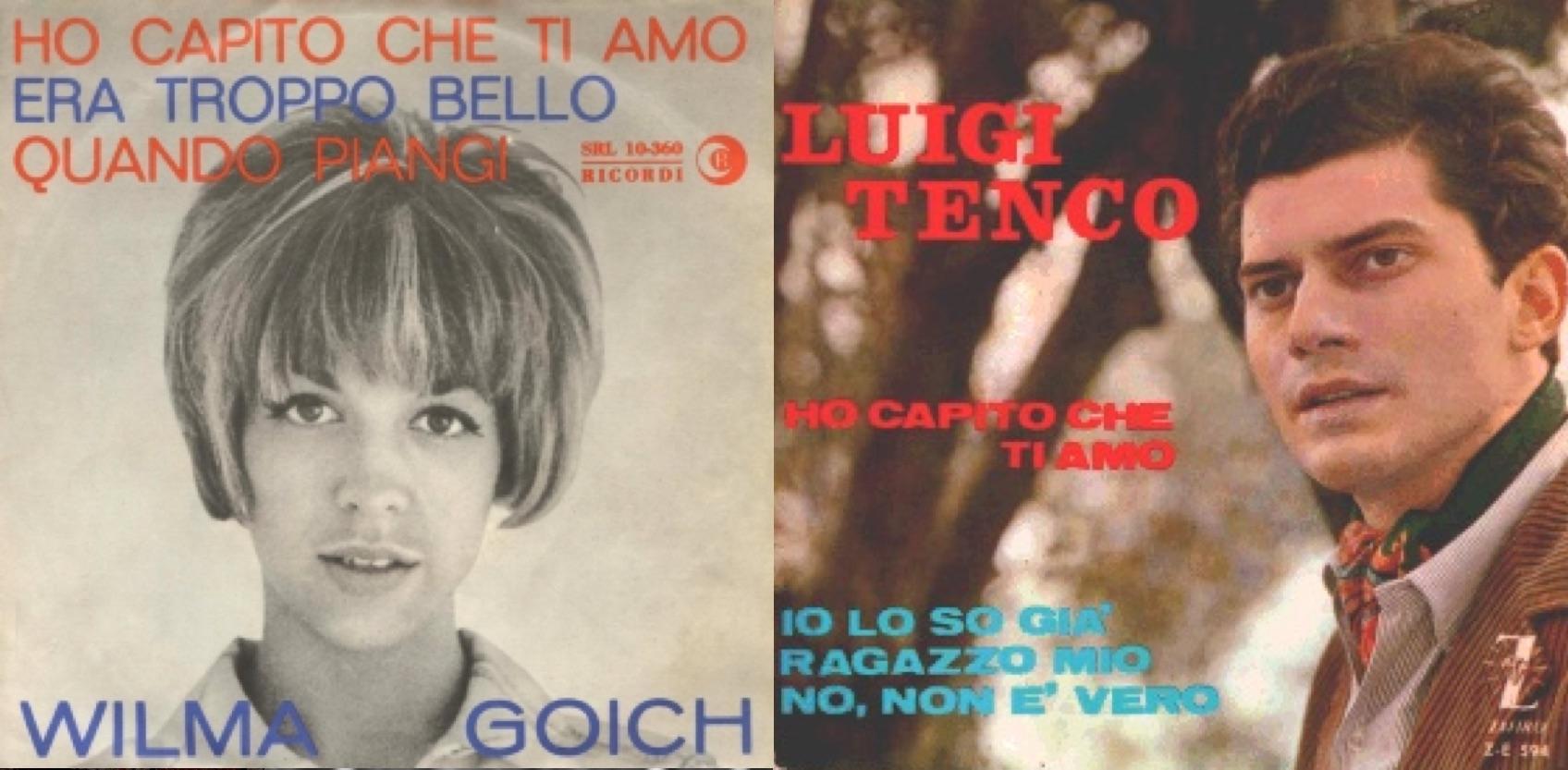 "Izq.: Disco sencillo de Wilma Goich de ""Ho capito che ti amo"". Der.: Disco original de Luigi Tenco (1964)."