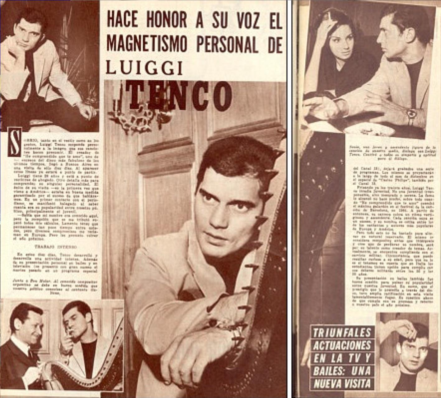 """Artículo de la revista """"Radiolandia"""" sobre la visita de Tenco a Argentina (diciembre 1965)."""