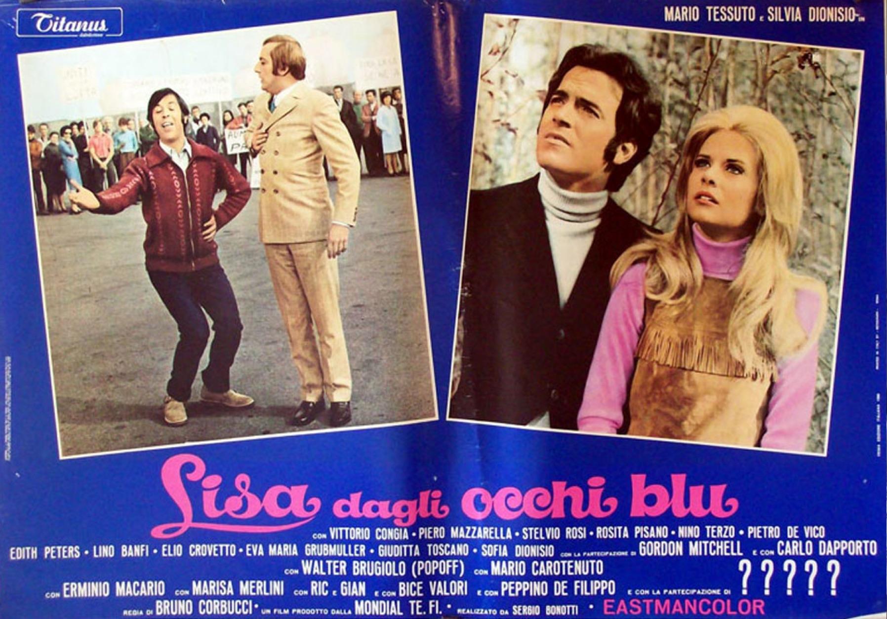 "Cartel promocional de la película ""Lisa dagli occhi blu"" (1969)."