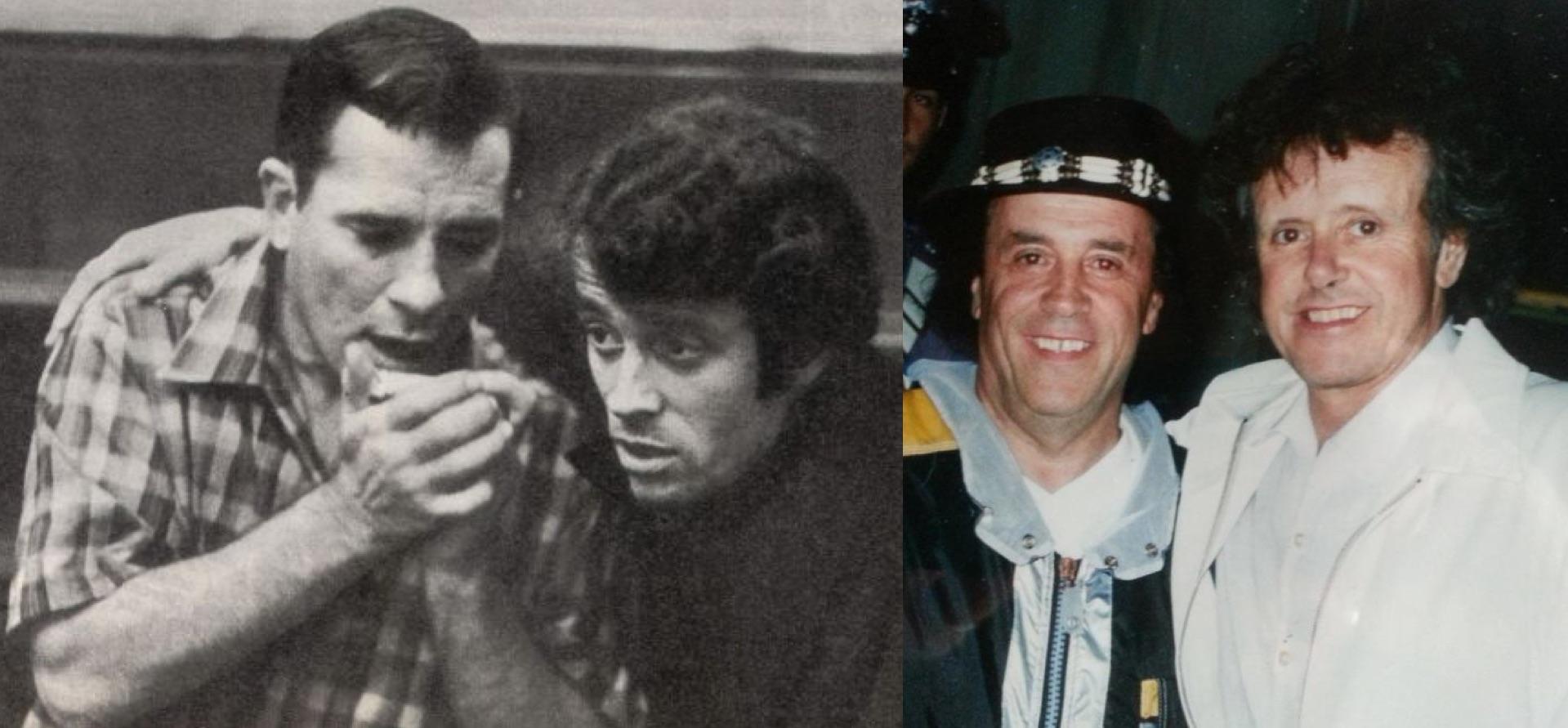 Izq.: Pieretti con el escritor Jean Kerouac. Der.: Años después con el escocés Donovan.