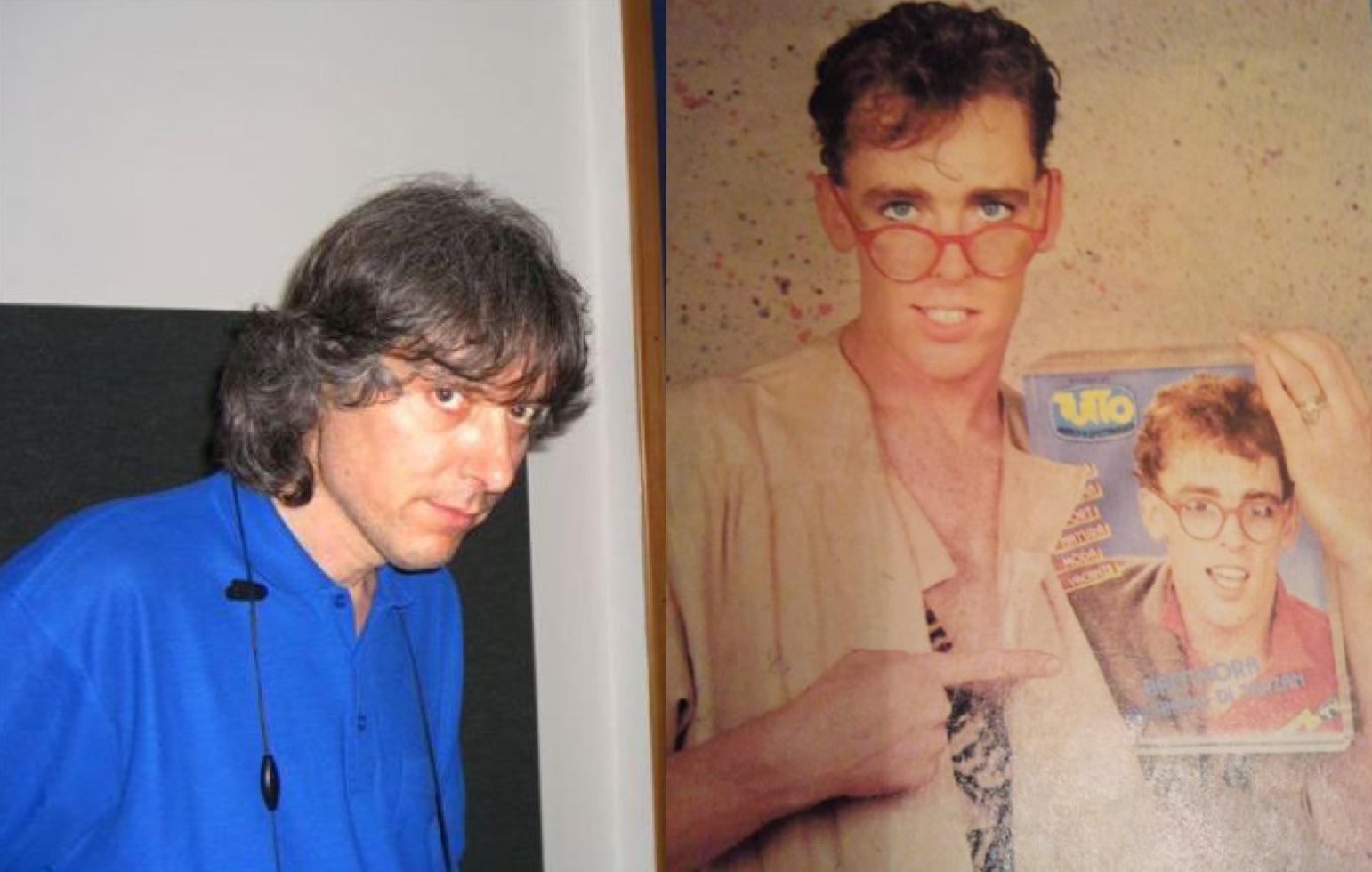 Izq.: El productor italiano Maurizio Bassi, creador de Baltimora. Der.: Jimmy McShane con una revista italiana.
