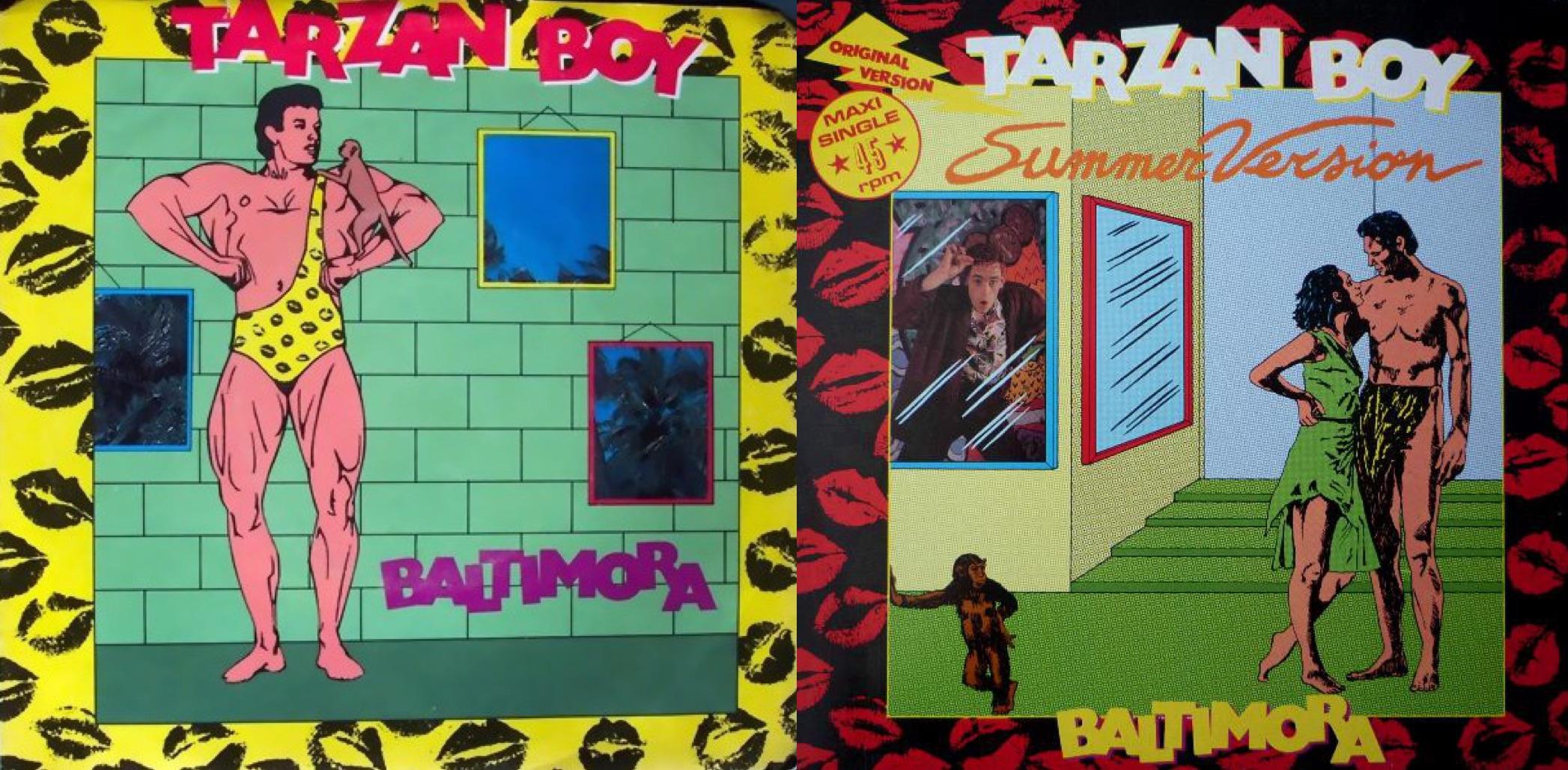 """Discos sencillos de """"Tarzan Boy"""", con diseños de cómic (1985)."""