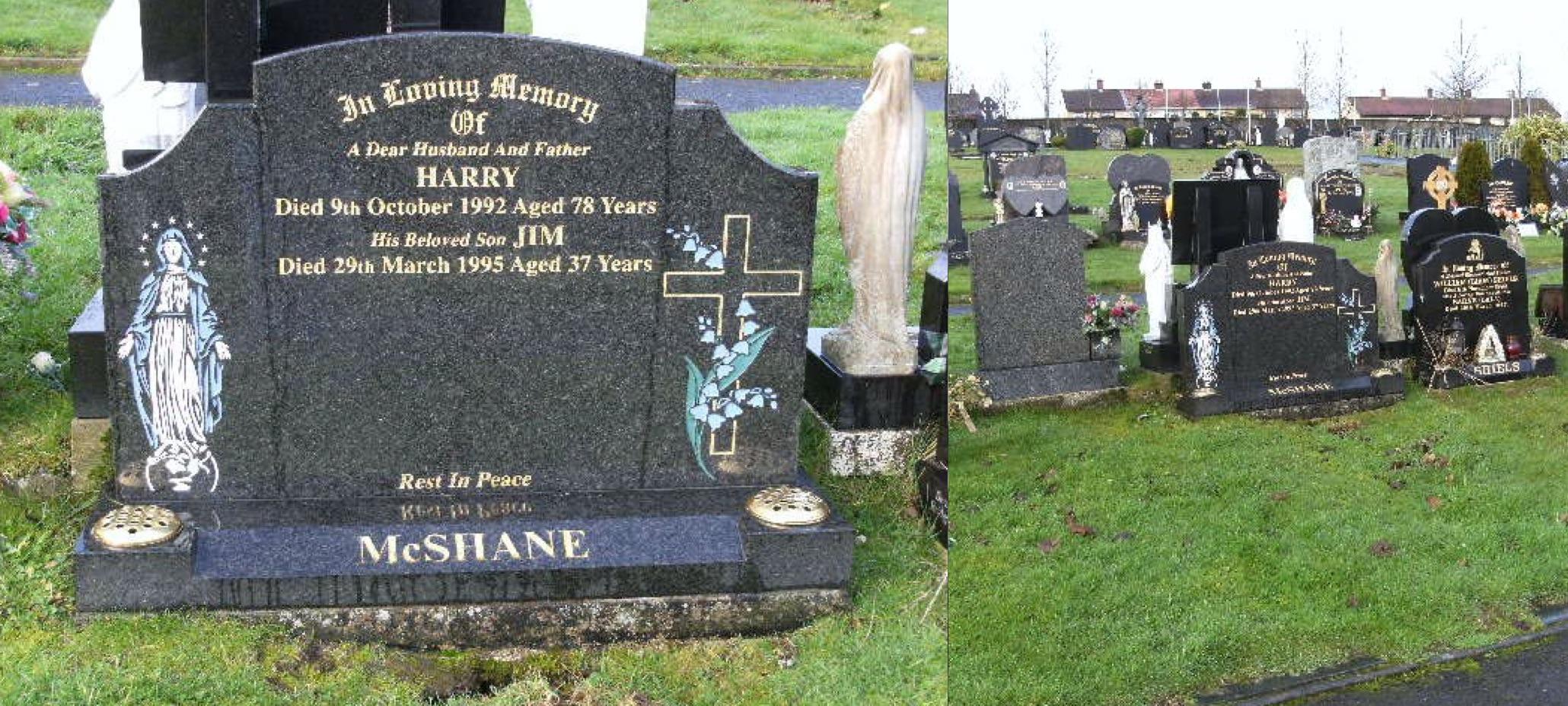 Tumba de Jimmy McShane en Londonderry (Irlanda del Norte).