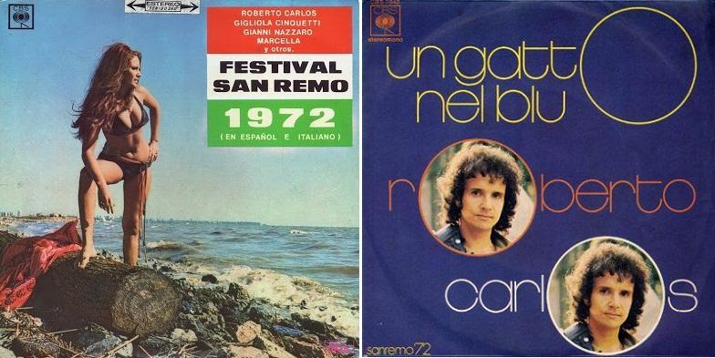 "LP del Festival de San Remo 1972 (izq.) y disco sencillo de ""Un gatto nel blu"" (der.)"