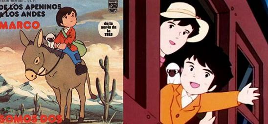 Izq.: Disco lanzado en 1976. Der.: Marco, el mono Amedio y su madre.