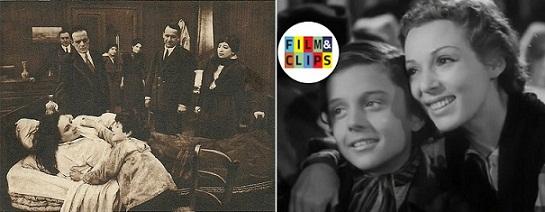 El reencuentro de Marco y su madre en los filmes de 1916 (izq.) y 1943.