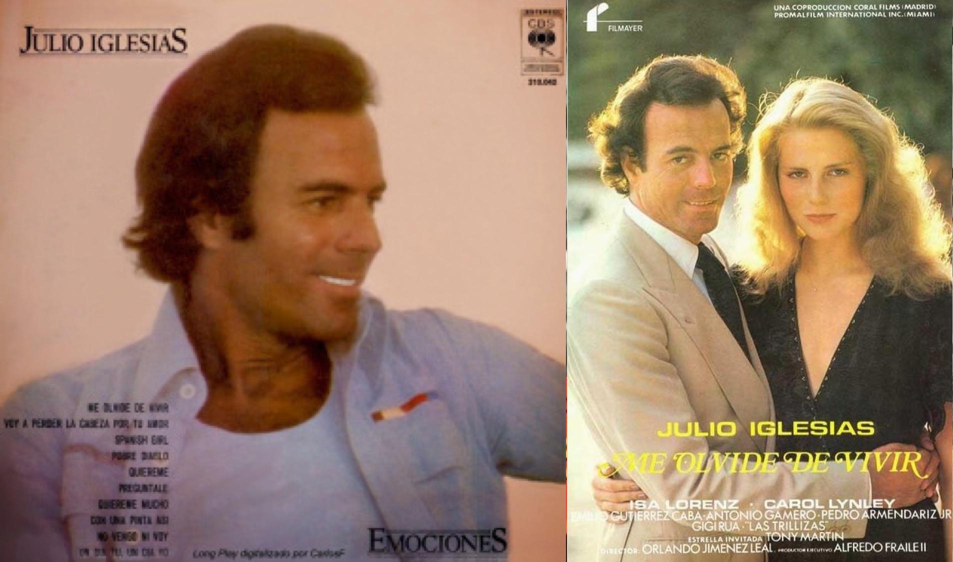 """Izq.: """"Emociones"""", álbum de 1978. Der.: Afiche de la película """"Me olvidé de vivir"""" de 1980."""