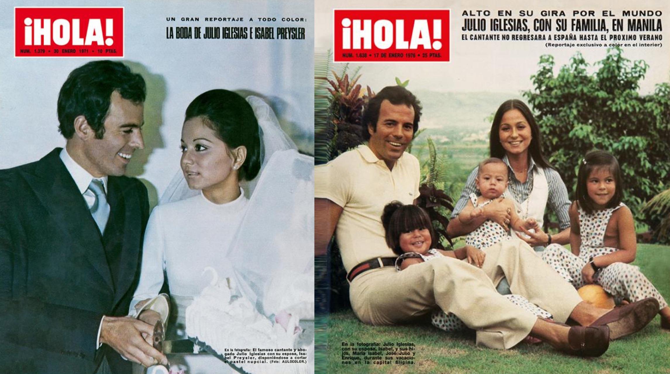 "Dos portadas de la revista ""Hola"". Izq.: La boda de 1971. Der.: La familia Iglesias Preysler."