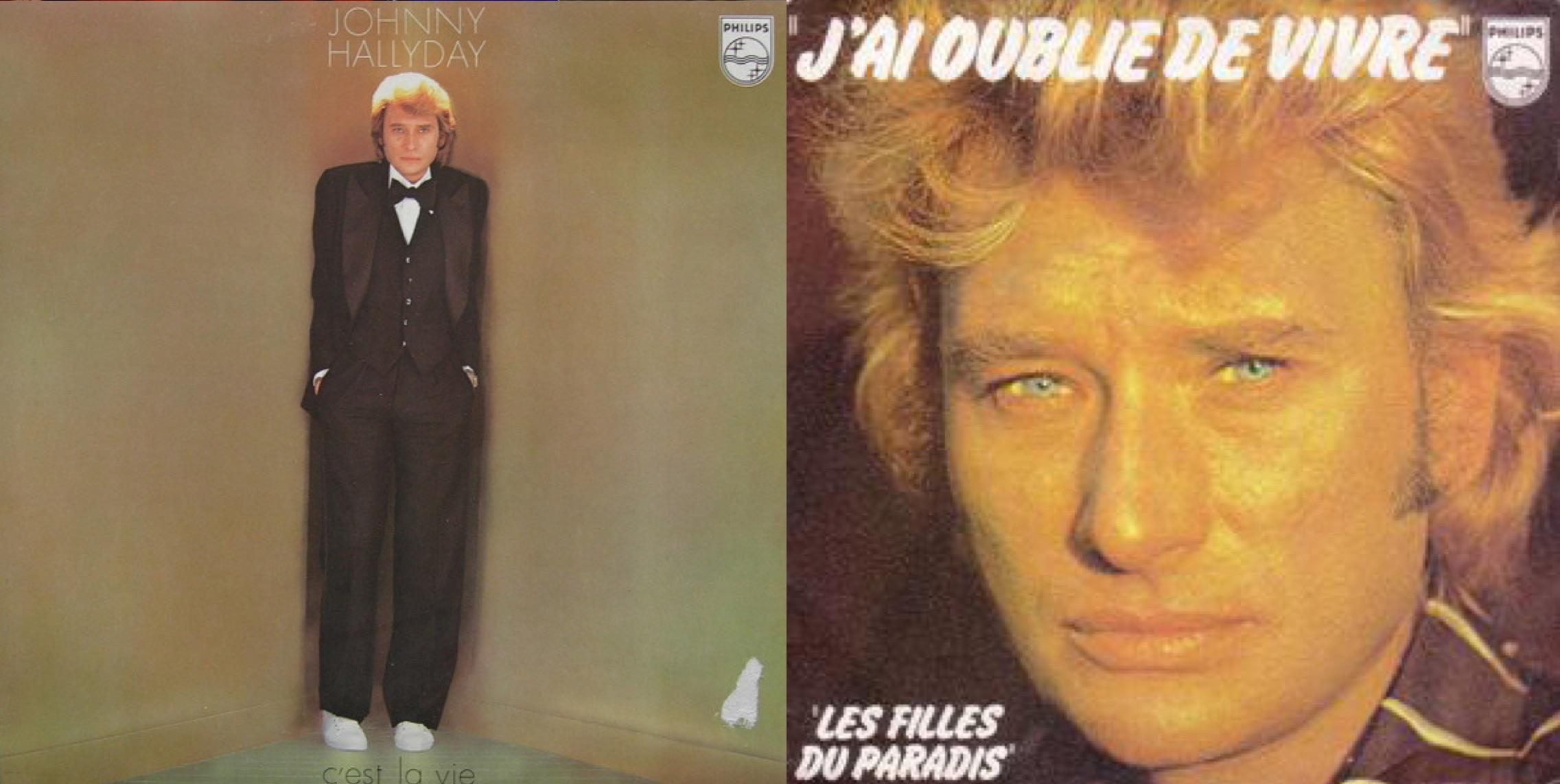 """Izq.: """"C'est la vie"""", álbum de 1977. Der.: Disco sencillo de """"J'ai oublié de vivre""""."""