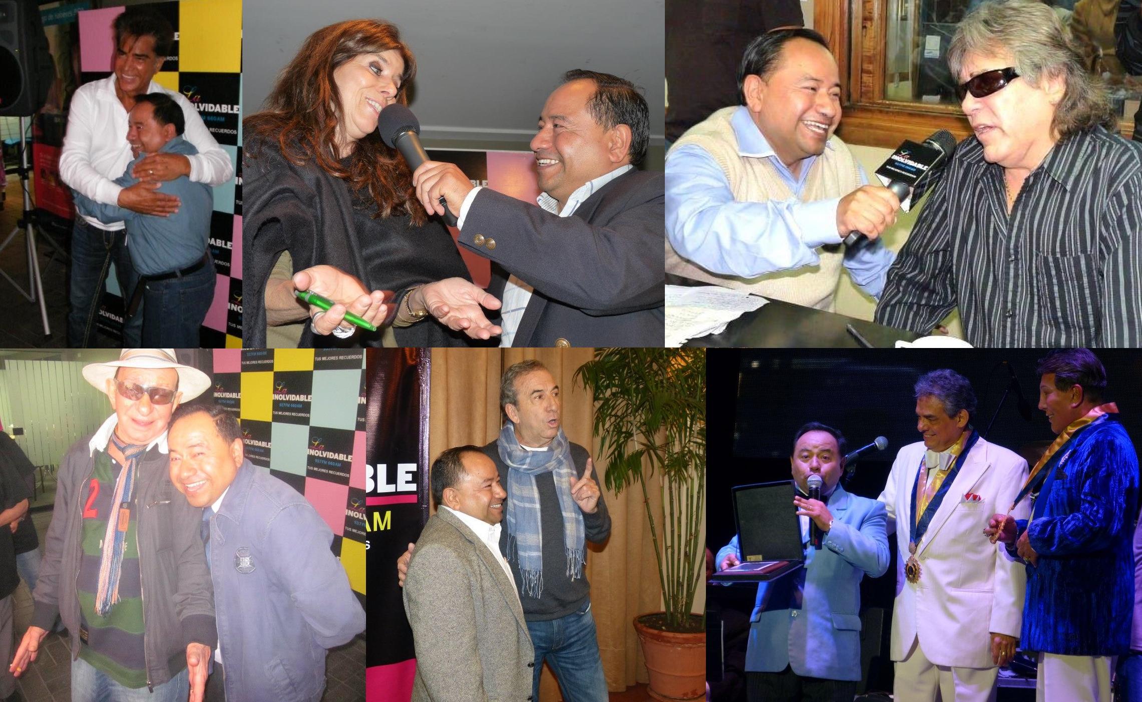 """""""Koky""""Salgado al lado de José Luis Rodríguez, Jeanette, José Feliciano, Nicola di Bari, José Luis Perales, José José y Jimmy Santi."""