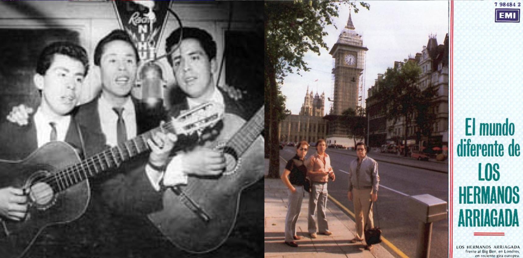 """Izq.: Los Hermanos Arriagada en la época de las """"guitarritas"""". Der.: Frente al Big Ben en Londres."""