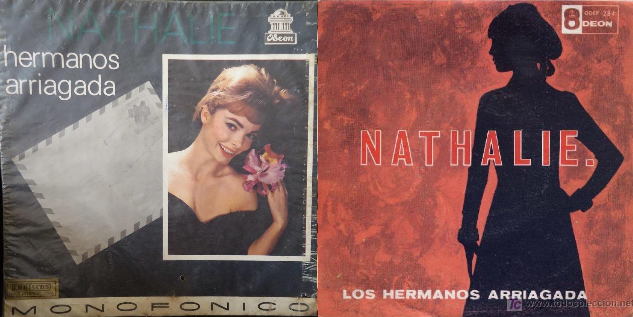 """Discos de """"Nathalie"""", lanzados en 1967 por el sello Odeon."""