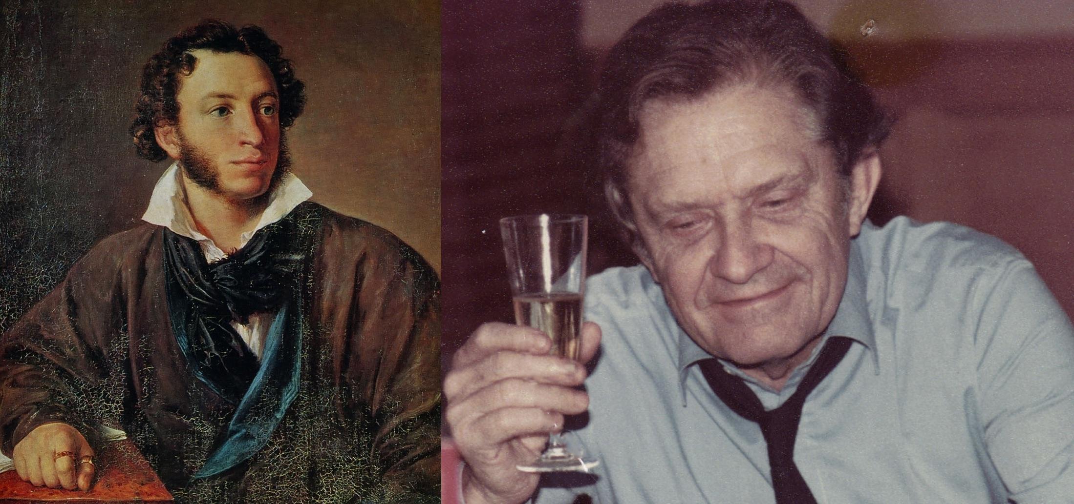 "Izq.: Aleksandr Pushkin, figura eminente de la literatura rusa. Der.: Pierre Delanoë, autor de la letra de ""Nathalie""."