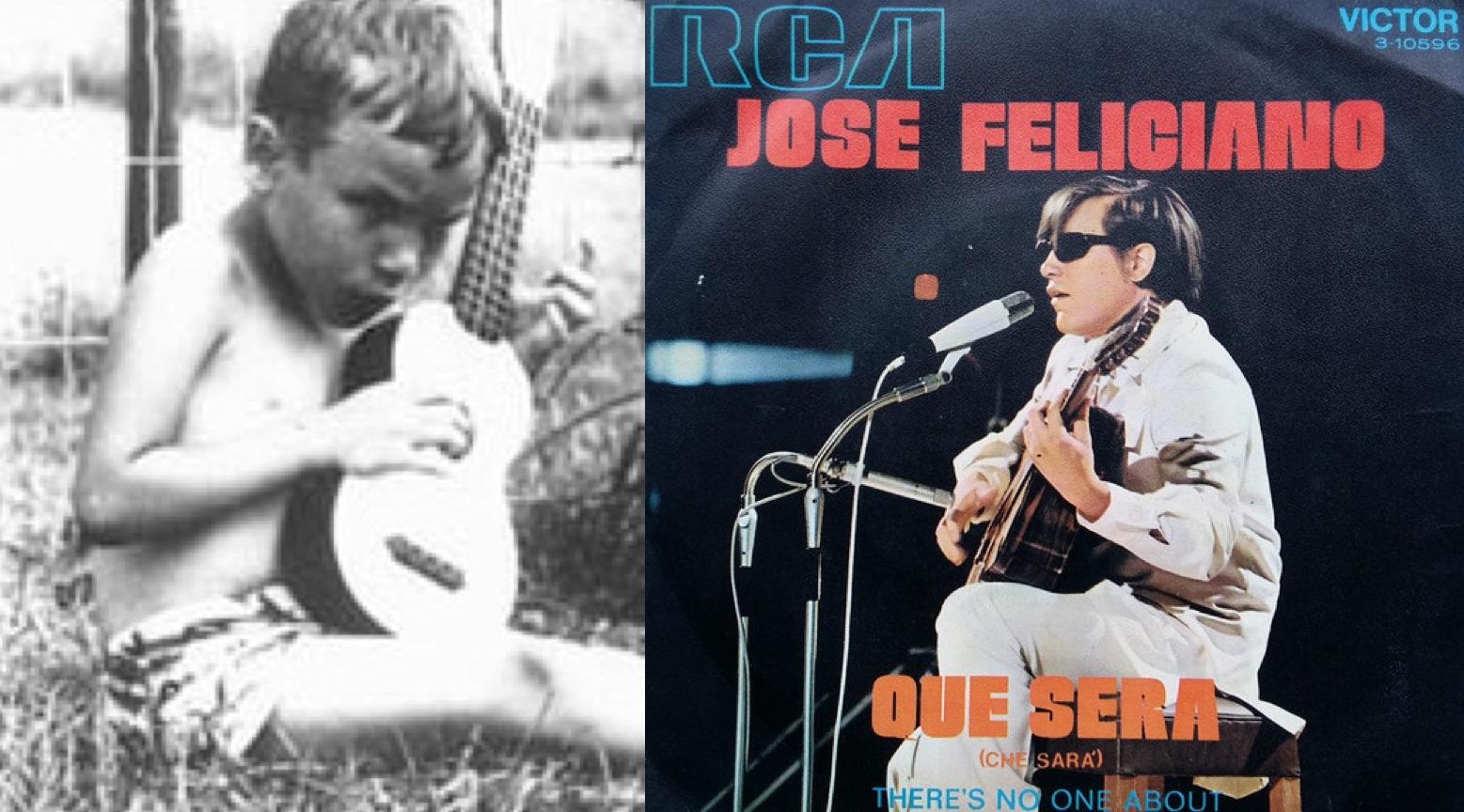 """Izq.: José Feliciano de niño (sitio web oficial). Der.: Disco sencillo de """"Qué será"""" (1971)."""
