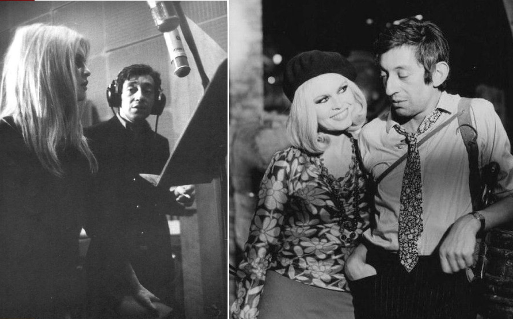 "Izq: Gainsbourg y Bardot durante la grabación. Der: El video de ""Bonnie and Clyde""."