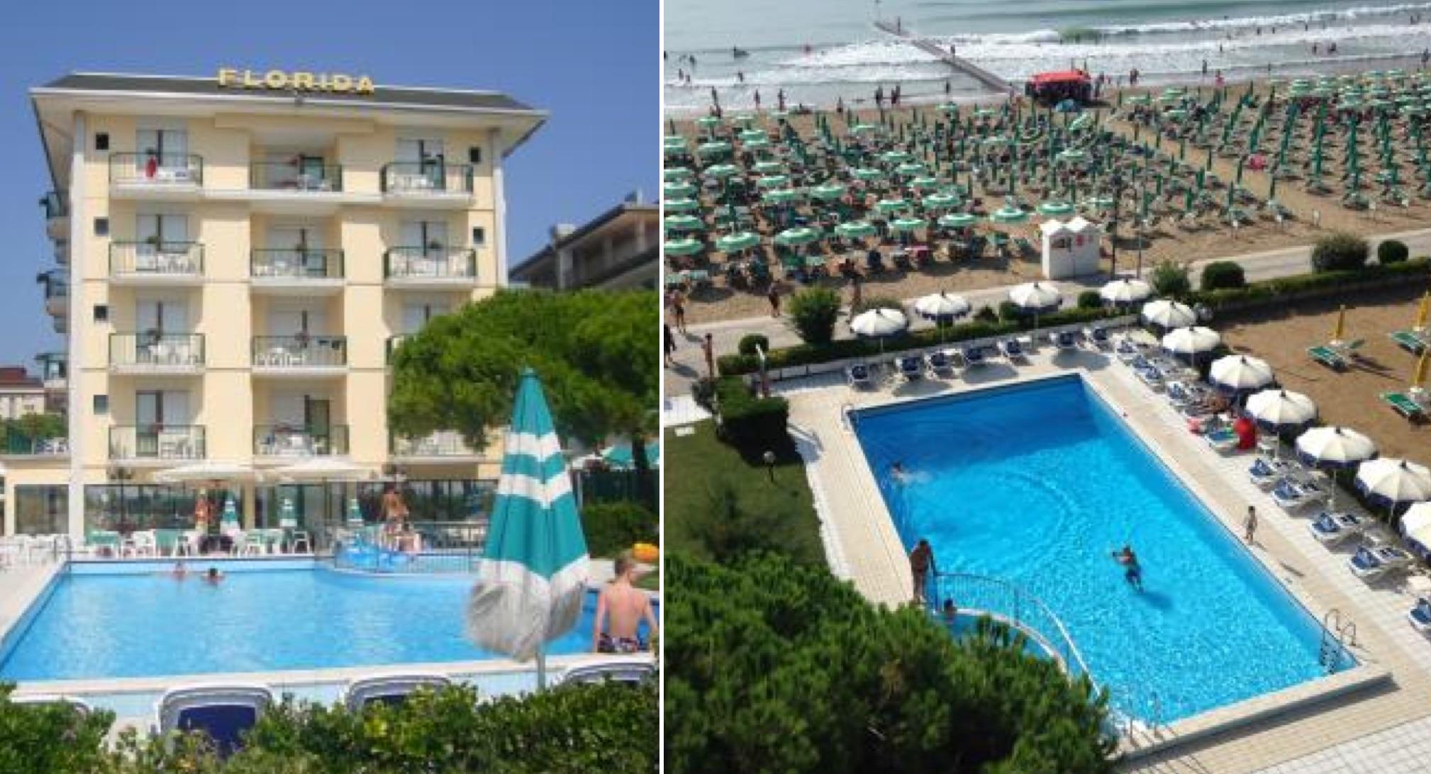 Izq: El Hotel Florida hoy. Der: La piscina queda muy cerca del mar. (Fotos: hotelfloridajesolo.it)