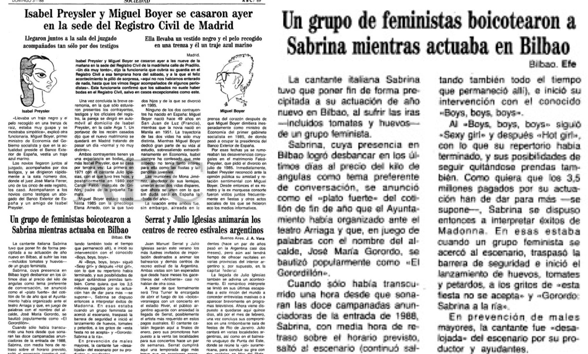 Diario ABC con la noticia sobre el incidente sufrido por Sabrina.