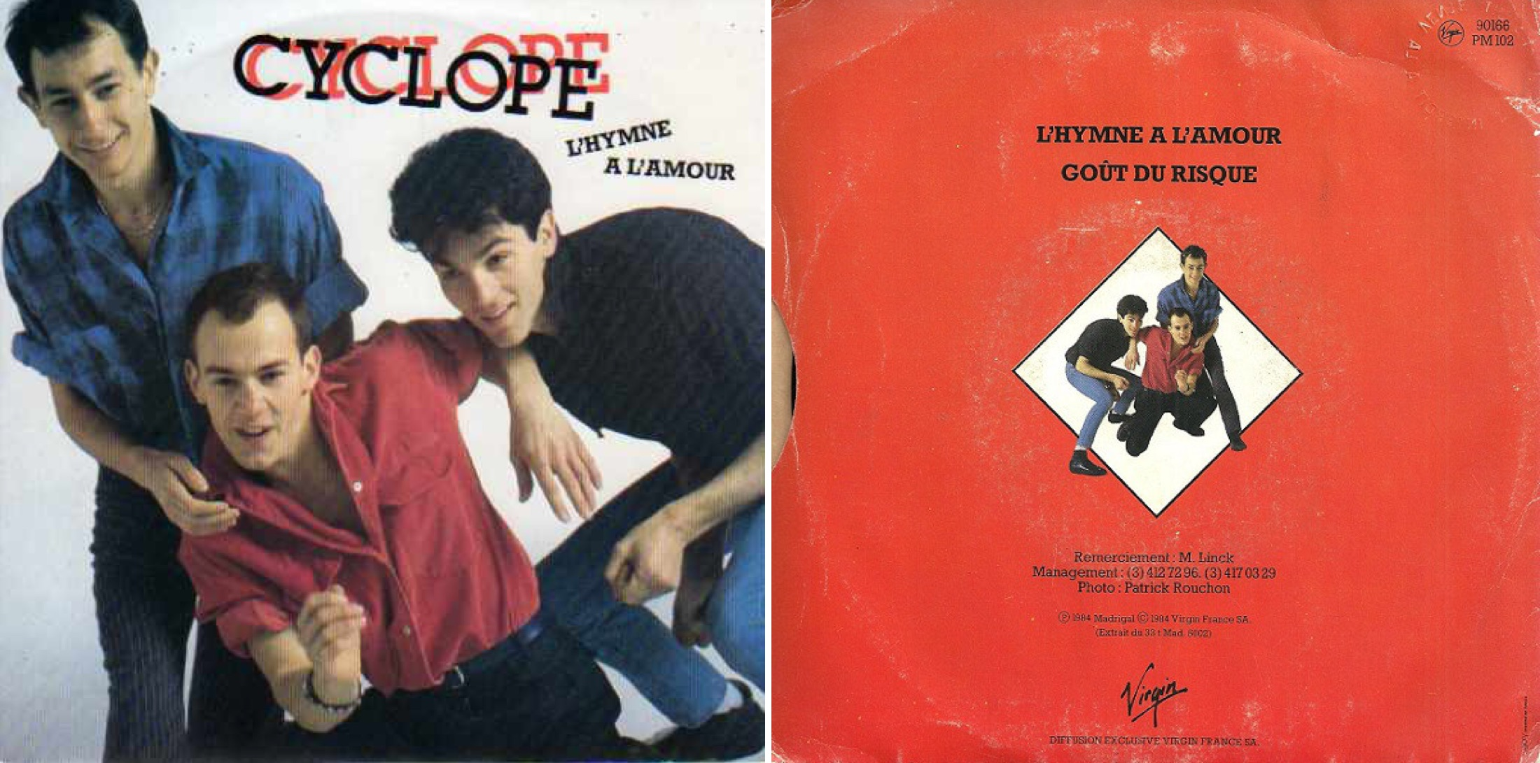 """Disco sencillo de """"L'hymne à l'amour"""", de 1984."""