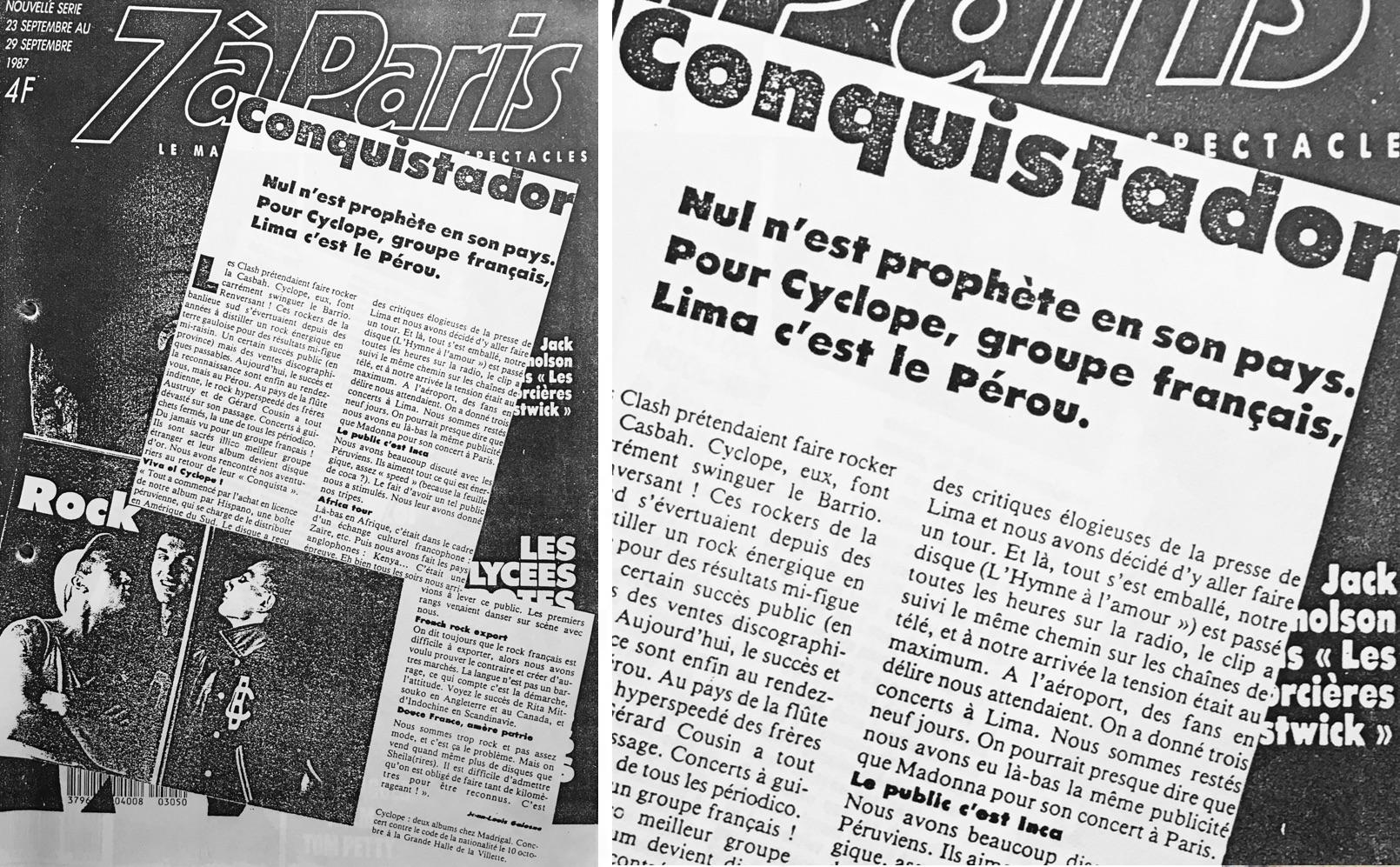"""Artículo publicado en el semanario """"7 à Paris"""" (Fuente: Groupcyclope.fr)"""