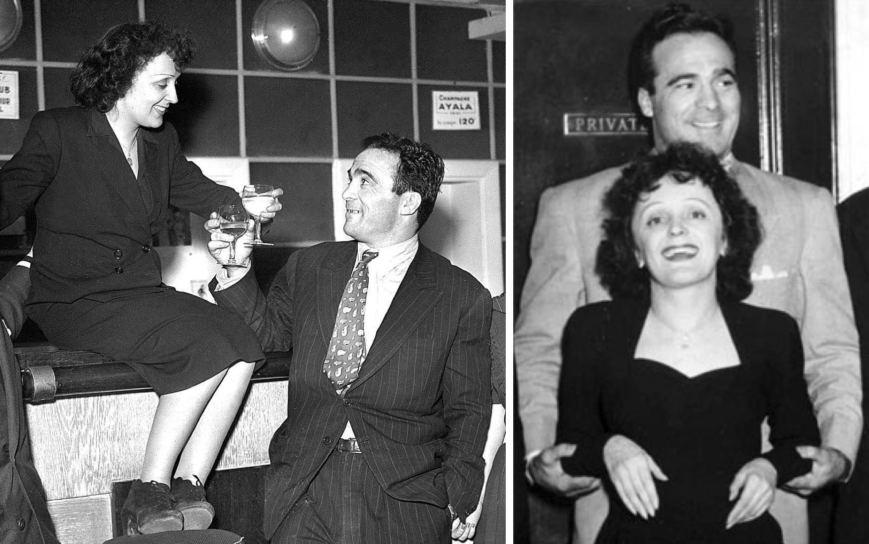 Edith Piaf y Marcel Cerdan (Izq.: theredlist.com / Der.: grandes-amores.blogspot.com).