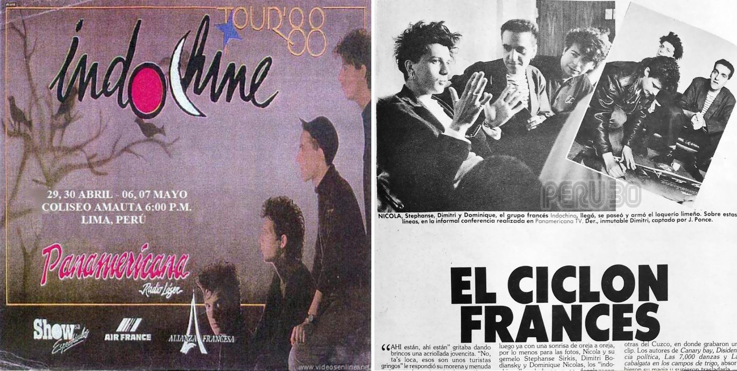 Izq: Afiche de los conciertos en Lima. Der: Artículo de la revista Oiga de 1988 (Peru30.wordpress.com).