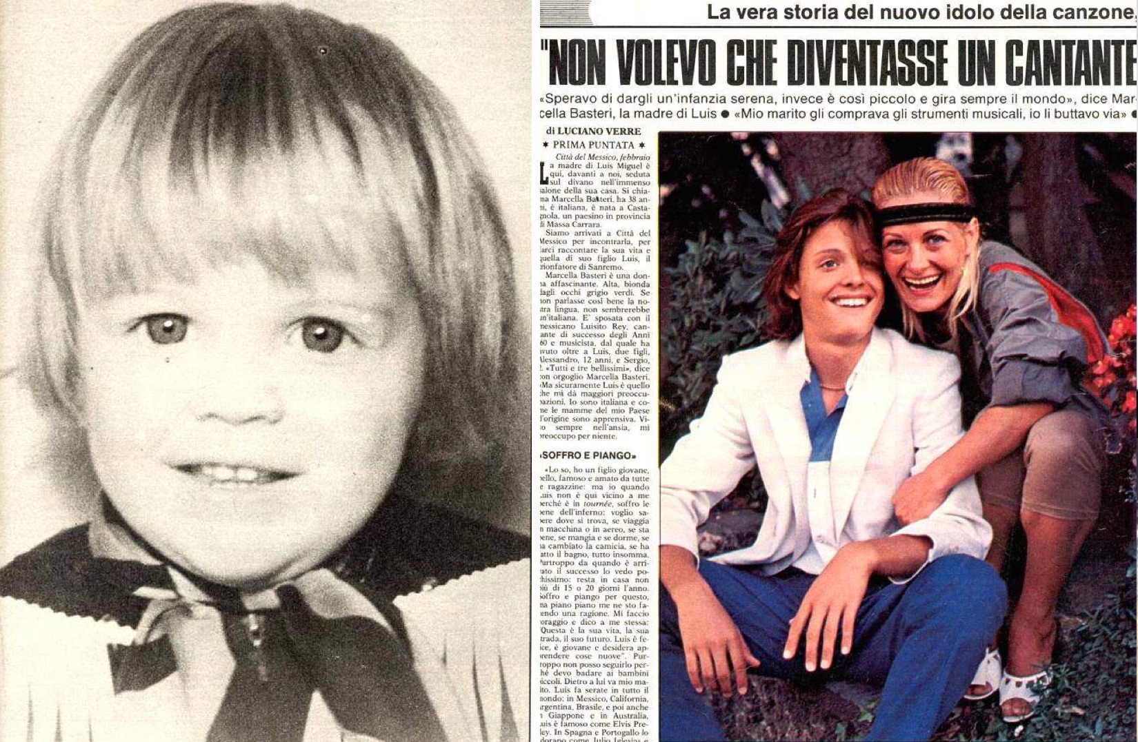 """Izq.: Luis Miguel a los 3 años. Der.: Al lado de su madre Marcella. El titular dice: """"No quería que se volviese un cantante"""". (LuisMiguelSite.com)"""