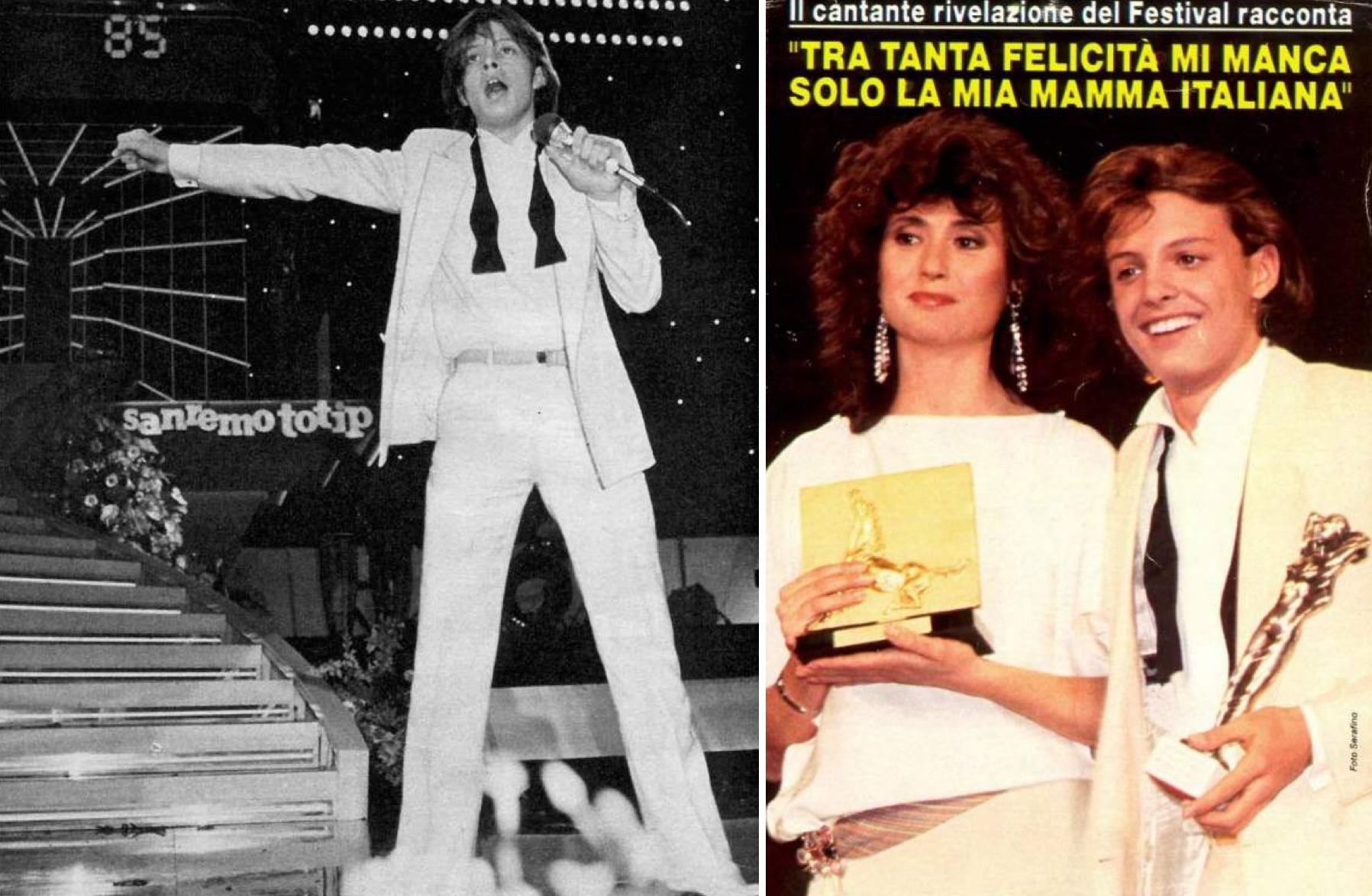 """Izq.: En San Remo 1985. Der.: Luis Miguel al lado de la italiana Gigliola Cinquetti. El titular dice: """"Entre tanta felicidad, solo me falta mi mamá italiana"""". (LuisMiguelSite.com)"""