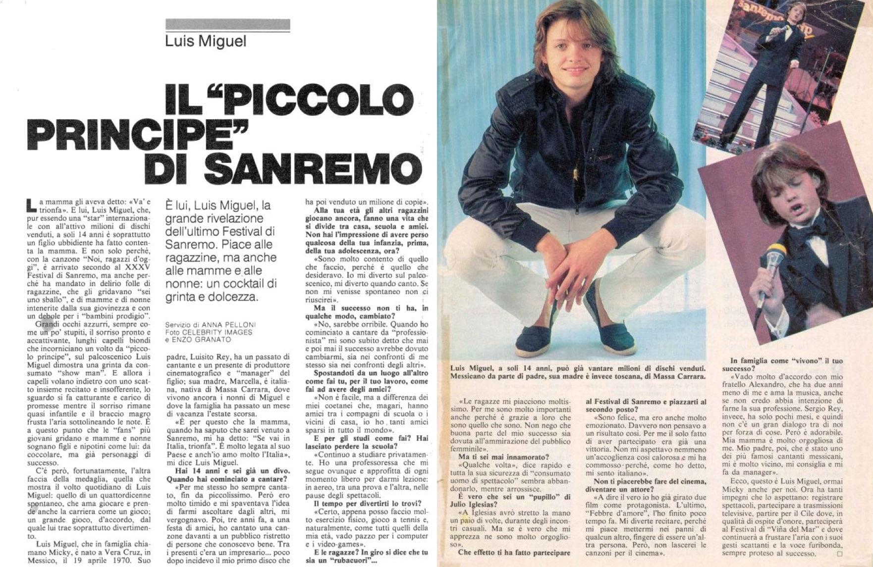 """Luis Miguel en un artículo titulado """"El principito de San Remo"""". (LuisMiguelSite.com)"""