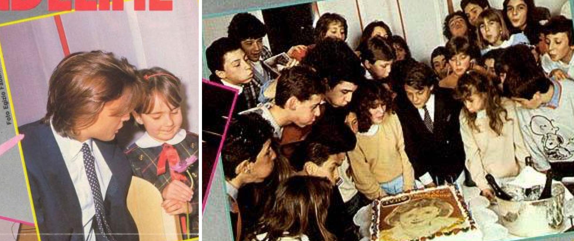Izq.: Una niña le ofrece una flor a Luis Miguel. Der.: Soplando las velas con sus fans italianos. (Revista Tutto Musica & Spettacolo / LuisMiguelSite.com)
